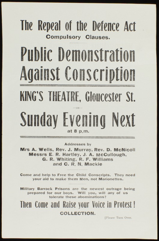 Flyer for public anti-conscription meeting